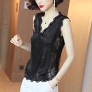 夏季新款時尚拼接蕾絲打底衫氣質名媛黑色吊帶內搭背心百搭上衣女 快速出貨