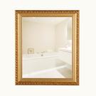 訂製 50*70歐式實木粘貼浴室鏡子 化妝鏡梳妝洗手間廁所衛生間鏡子 貼墻壁帶框 快速出貨