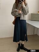 開叉設計氣質針織裙 Z11398【新年免運】