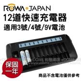 ROWA 樂華 RW-AA9V 12道 LCD 快速充電器 (24期0利率 免運 樂華公司貨) 可充 3號 AA 4號 AAA 9V 電池 不含電池