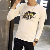 男T恤 男短t恤 韓版T恤 秋季男裝圓領長袖T恤 韓版大學生打底衫上衣【非凡上品】cx538