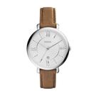 FOSSIL質感時尚羅馬銀色腕錶/咖皮E...