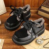 日系秋冬軟妹小皮鞋平底圓頭學生鞋加絨厚底學院風娃娃鞋「韓風物語」