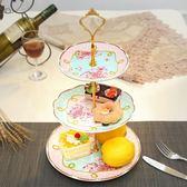 陶瓷三層水果盤 歐式創意玻璃下午茶點心盤現代客廳蛋糕架干果盤 免運直出 交換禮物
