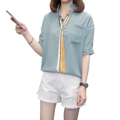 大碼襯衫上衣~寬松韓版洋氣遮肚上衣減齡雪紡襯衫G987 R11 胖妞衣櫥