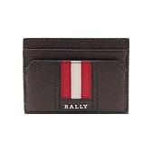 【台中米蘭站】全新品 BALLY Thar 防刮皮革紅白條四卡卡片夾(6221814-咖)