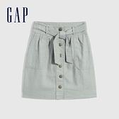 Gap女童 亞麻混紡繫帶A字短裙 697376-綠色