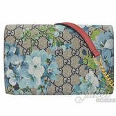 茱麗葉精品【全新現貨】GUCCI 546368 GG Blooms WOC花卉PVC肩背鍊包.駝/藍