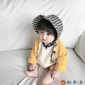兒童嬰兒遮陽帽男女防曬新生兒純棉布系帶胎帽【淘夢屋】