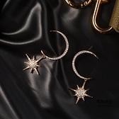 滿鉆月牙星星925銀針耳釘超仙耳環女耳墜耳飾【聚物優品】
