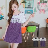 長版上衣--日系浪漫拼接蕾絲點點長版上衣/洋裝(黑.紫XL-5L)-D359眼圈熊中大尺碼