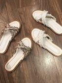 拖鞋女夏外穿2019新款百搭網紅女士交叉平底一字拖女款沙灘涼拖鞋優品匯