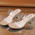 中跟鞋 鞋子女春季新款粗跟透明涼鞋女女式涼鞋韓版休閑外貿涼鞋百搭女鞋