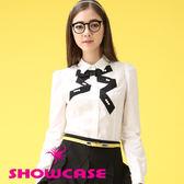 【SHOWCASE】蝴蝶結造型縫珠領飾手短袖襯衫(白)