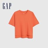 Gap女裝 純棉落肩袖短袖T恤 704371-橘紅色