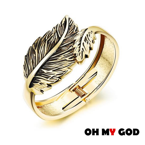 OH MY GOD歐美風葉子銅鍍金手環