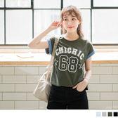 OrangeBear《AB3124》台灣製造.背號燙印拼色反折連袖高含棉T恤.2色--適 XL~5L