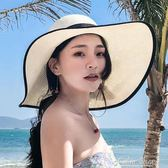 草帽子女夏大檐防曬遮陽沙灘帽可折疊太陽帽海邊度假出游夏天涼帽color shop