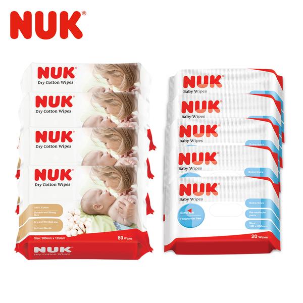 德國NUK-嬰兒乾濕兩用紙巾80抽x6包+濕紙巾20抽x5包