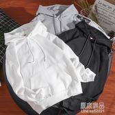 潮牌休閒連帽套頭純色衛衣情侶裝男女款韓版青少年厚款外套    原本良品