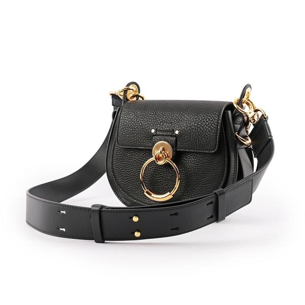 【CHLOE】Tess Small Bag 羊皮拚牛皮肩背/斜背二用包(黑色) CHC19WS153944 001