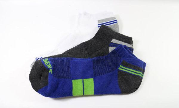SKECHERS 男運動踝襪 S104866-422 一組三雙(白/灰/藍) [陽光樂活]