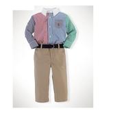 Polo Ralph Lauren 襯杉西裝上衣+長褲+皮帶 三件組 紅藍拼接 | 男寶寶套裝(嬰幼兒/小孩/baby)