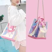 水桶包包女2018新款潮韓版時尚百搭鏈條手提單肩斜挎包迷妳果凍包