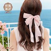 髮飾 韓國直送緞帶蝴蝶結彈簧髮夾-粉紅色-Ruby s露比午茶