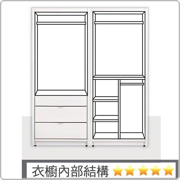 【水晶晶家具/傢俱首選】JX9341-9 凡斯82*196cm純白雙吊衣櫃(右圖)