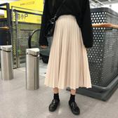 半身裙中長款 新品新款韓版中長款ins超火裙子百褶半身裙女裝鬆緊腰A字裙潮
