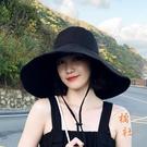 大檐防曬帽子日系純色漁夫帽夏季可折疊太陽帽遮陽帽百搭【橘社小鎮】
