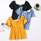 【Charm Beauty】復古 港味 方領 上衣 INS修身 純色T恤 閨蜜裝 黃色短袖 高腰 短款 T恤 女夏