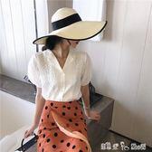 夏季新款氣質百搭修身顯瘦特制面料珍珠扣西裝領花邊襯衫女潮 「潔思米」