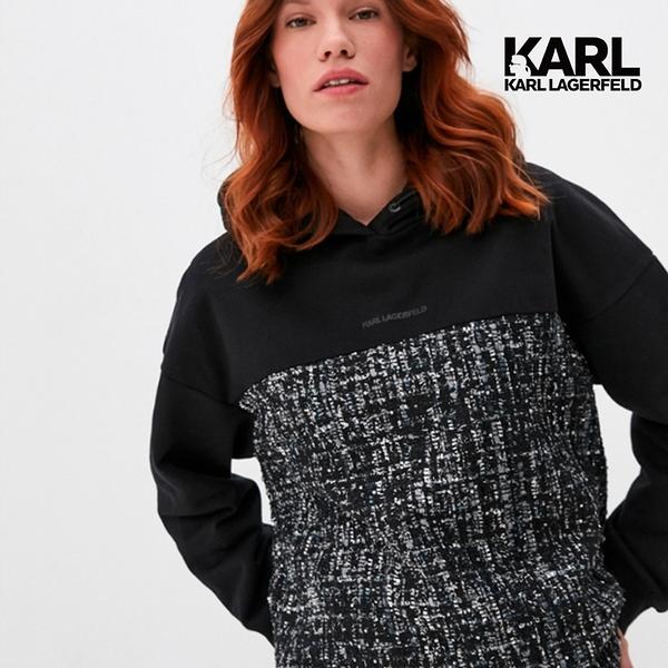 KARL LAGERFELD 毛呢拼接帽T運動衫-黑