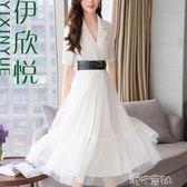 夏季女裝潮流時髦西裝拼接網紗連身裙中長款雪紡裙子女潮 igo 港仔會社
