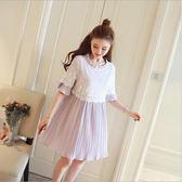 *漂亮小媽咪*韓國 繡花 蕾絲 喇叭袖 孕婦洋裝 荷葉袖 孕婦裝 短袖 百褶 連身裙 D9334