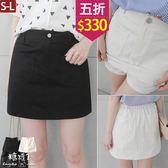 【五折價$330】糖罐子前雙口袋後縮腰素面褲裙→預購(S-L)【KK6366】