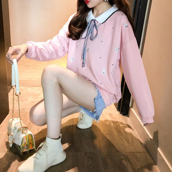 清倉188 韓系印花蝴蝶結領寬鬆氣質套頭長袖上衣