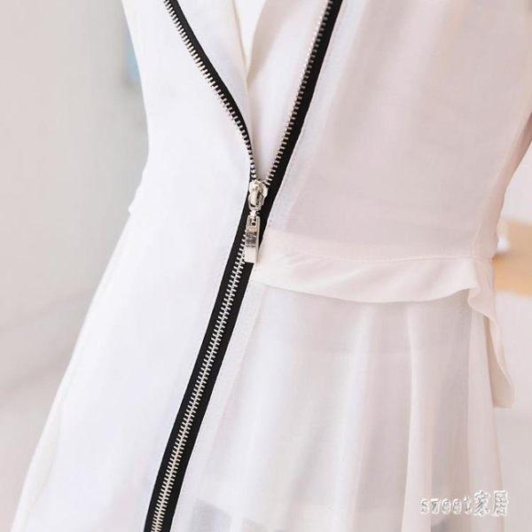 馬甲 2019夏季新品雪紡襯衫女裝大碼中長款坎肩馬甲外套寬鬆小西裝 df14608【Sweet家居】