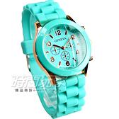 GENEVA 馬卡龍色系 繽紛彩色錶 造型三眼錶 湖綠色 大圓錶 數字錶 GE湖綠大