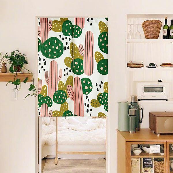 可愛時尚棉麻門簾E289 廚房半簾 咖啡簾 窗幔簾 穿杆簾 風水簾 (85寬*90cm高)