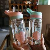 創意水果玻璃杯小清新簡約手提成人吸管杯男女學生戶外運動隨手杯 卡布奇诺