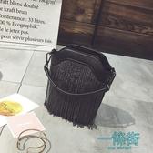 韓國錬條小包包手機包女斜挎包小包包個性流蘇水桶包MINI小提包潮