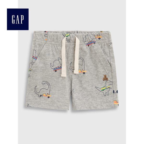 Gap男嬰兒 布萊納柔軟印花鬆緊腰短褲 464218-淺麻灰