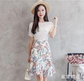 魚尾裙 夏季新款碎花魚尾裙荷葉邊不規則a字裙包臀裙短裙 QQ5127『東京衣社』