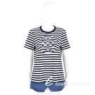 TORY BURCH 品牌徽標深藍色條紋厚磅純棉短袖TEE T恤 2040375-34