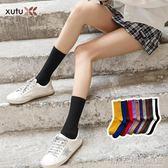 堆堆襪女秋冬百搭潮流個性襪子女中筒襪黑色ins街頭秋天彩色棉襪 晴天時尚館