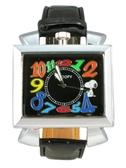 【卡漫城】 史奴比 皮革 方形 手錶 黑 ㊣版 Snoopy 史努比 女錶 男錶 糖果色 超大鏡面 彩色數字