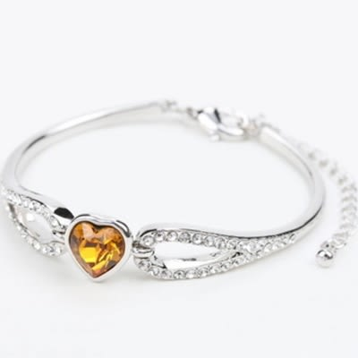 手環 925純銀水晶銀飾-愛心鑲鑽生日情人節禮物女手鍊6色73ak35[時尚巴黎]
